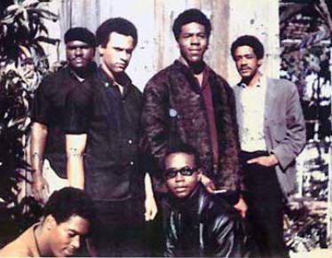 "Original members of the Black Panthers:  Huey P. Newton, Bobby Seale, Elbert ""Big Man"" Howard, Sherwin Forte, Reggie Forte and Little Bobby Hutton."