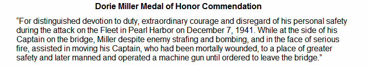 Dorie Miller Medal of Honor Commendation