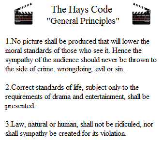 hays code The motion picture production code of 1930 (hays code) if motion pictures  present stories that will affect lives for the better, they can become the most  powerful.