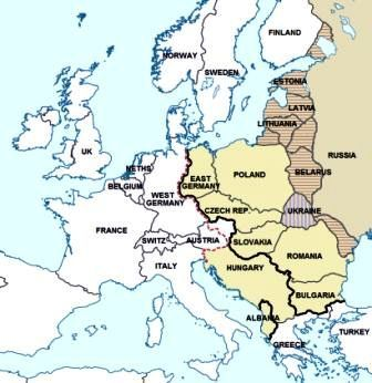The Cold War Map showing the Iron Curtain border