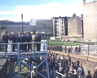 John F. Kennedy visiting the Berlin Wall on 26 June 1963