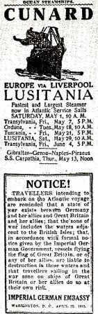 Lusitania newspaper advert and warning