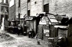 Great Depression: Shanty town shacks in Manhattan