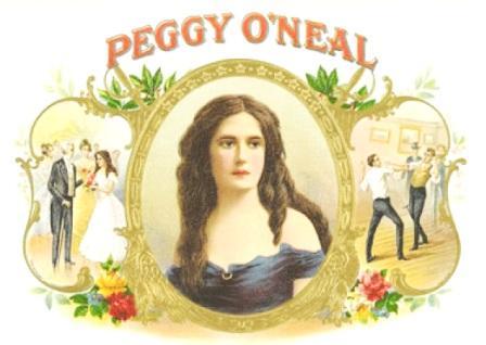Anúncio de caixa de charutos representando Peggy Eaton