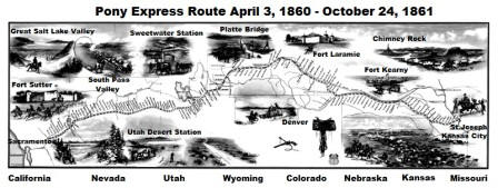 map of the pony express route