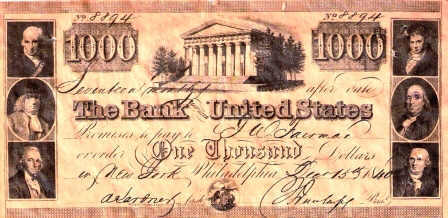 Promissory note issued by the Second Bank of the United States on issued 1840-12-15 in the amount of $1,000.