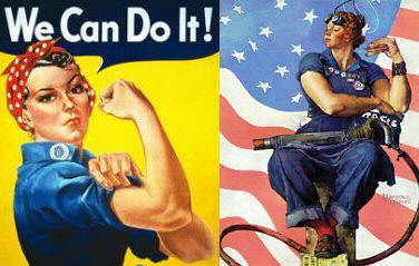 Rosie the Riveter posters by J. Howard Miller and Norman Rockwell