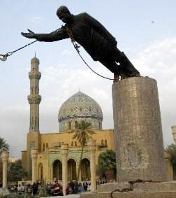 Iraq War: Toppling of a 20ft statue of Saddam Hussein in Baghdad