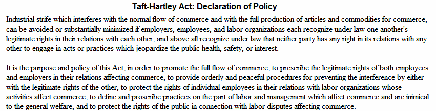 Taft-Hartley Act: Declaration of Policy