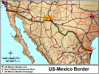 Map of US Mexican Border